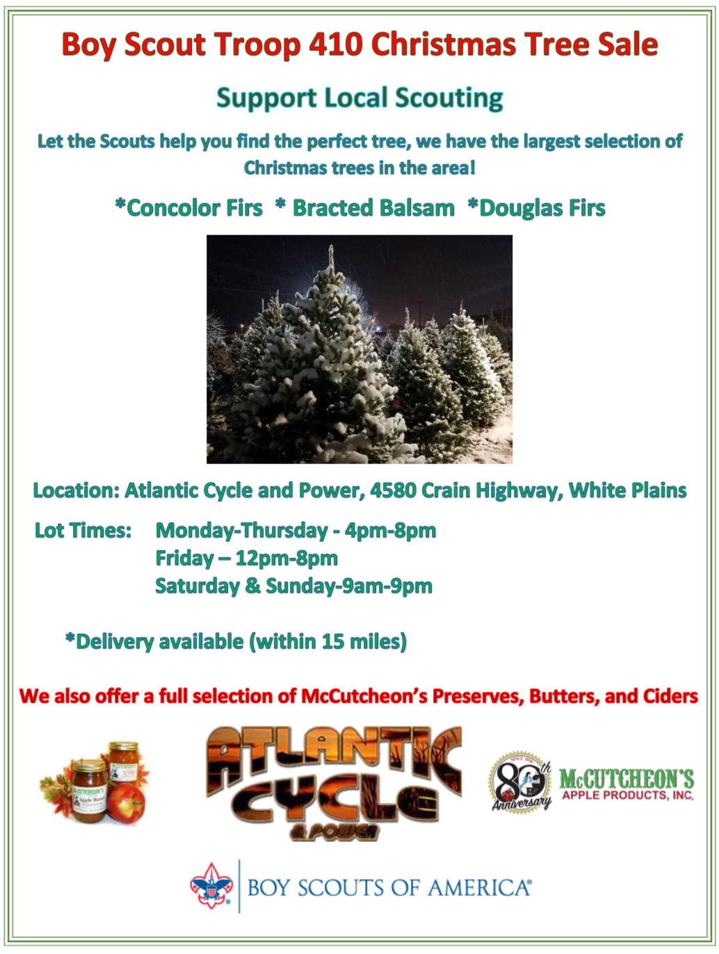 2020 Christmas tree sale from boy scout troop 410